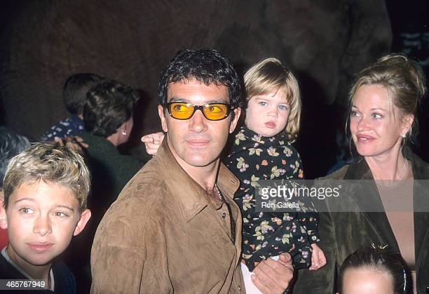 Actor Antonio Banderas actress Melanie Griffith daughter Stella Banderas and Melanie's son Alexander Bauer attend The Lion King 2 Simba's Pride...