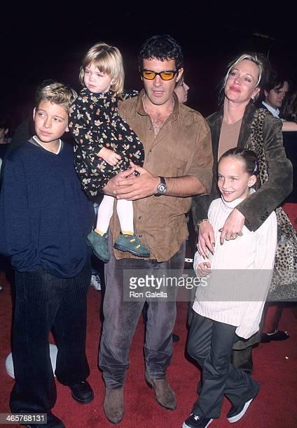 Actor Antonio Banderas actress Melanie Griffith daughter Stella Banderas Melanie's son Alexander Bauer and Melanie's daughter Dakota Johnson attend...