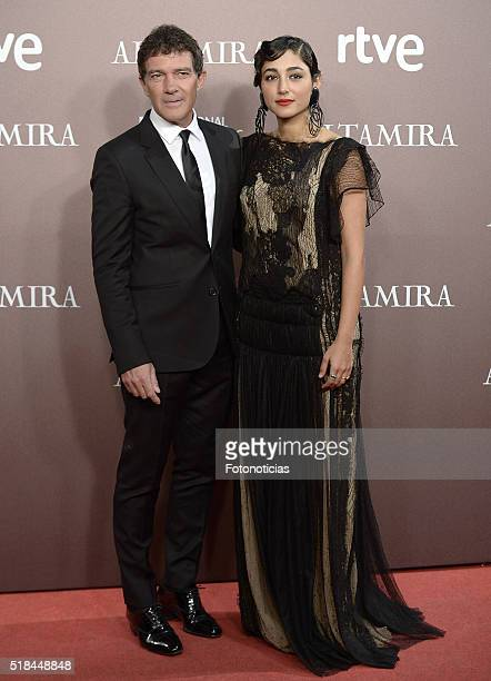 Actor Antonio Banderas and actress Golshifteh Farahani attend the 'Altamira' premiere at Callao Cinema on March 31 2016 in Madrid Spain