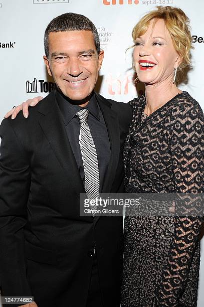 Actor Antonio Banderas and actress Melanie Griffith arrive at 'The Skin I Live In' Premiere at the Princess of Wales Theatre on September 11 2011 in...