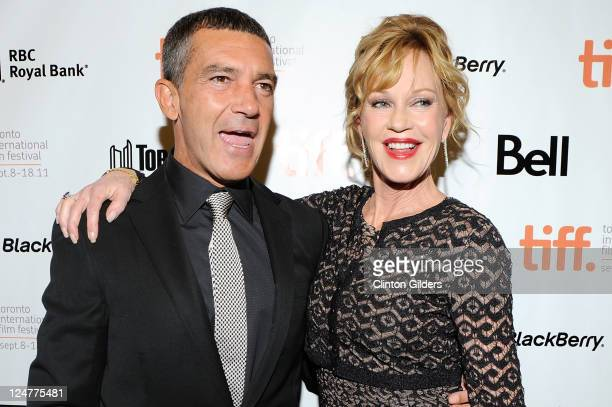 Actor Antonio Banderas and actress Melanie Griffith arrive at The Skin I Live In Premiere at the Princess of Wales Theatre on September 11 2011 in...