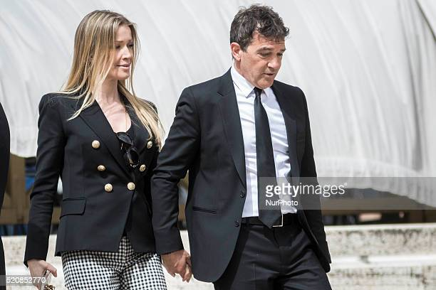 Actor Antonio Banderas and his girlfriend Nicole Kimpel leave at the end of Weekly General Audience in St Peter's Square in Vatican City Vatican on...