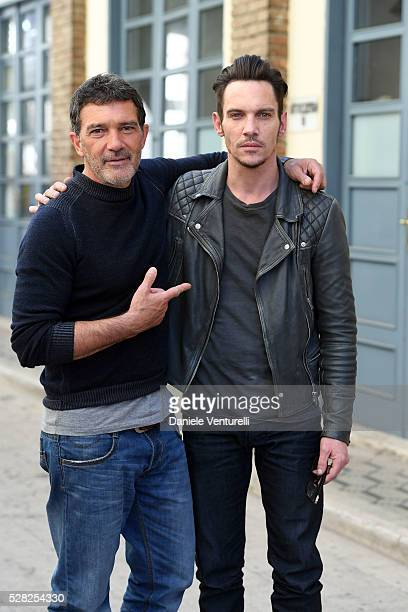 Actor Antonio Banderas and Jonathan RhysMeyers pose on set of the movie 'BLACK BUTTERFLY' by AMBI Group on May 04 2016 in Rome