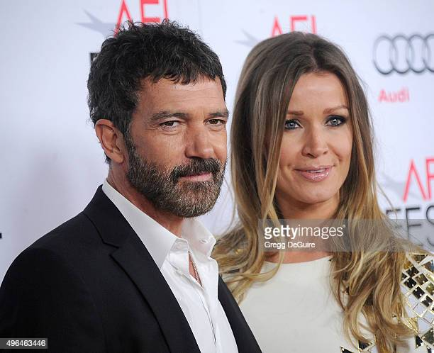 Actor Antonio Banderas and Nicole Kimpel arrive at the AFI FEST 2015 Presented By Audi Centerpiece Gala Premiere of The 33 at TCL Chinese Theatre on...