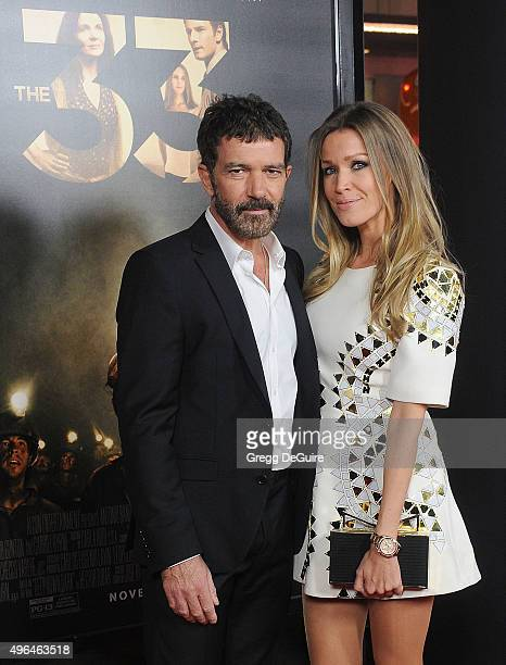 """Actor Antonio Banderas and Nicole Kimpel arrive at the AFI FEST 2015 Presented By Audi Centerpiece Gala Premiere of """"The 33"""" at TCL Chinese Theatre..."""