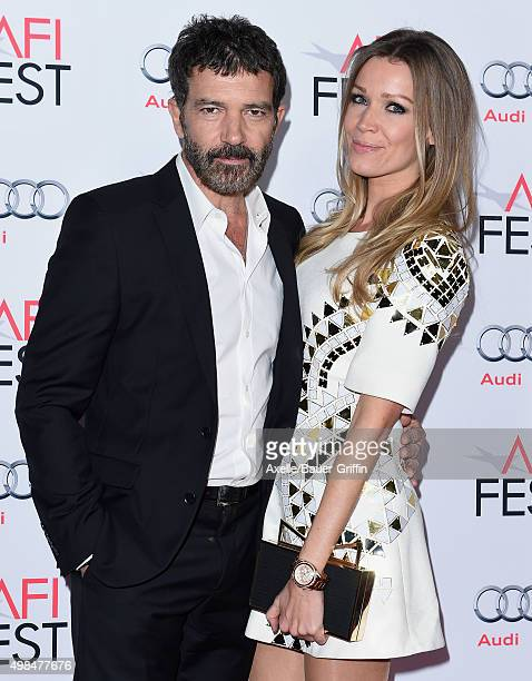 Actor Antonio Banderas and Nicole Kimpel arrive at the AFI FEST 2015 Presented By Audi Centerpiece Gala Premiere of 'The 33' at TCL Chinese Theatre...