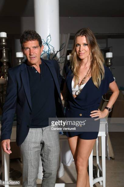 Actor Antonio Banderas and Nicole Kempel attend AMBI Media Group Dinner during the 2017 Ischia Global Film Music Fest at Hotel Mezza Torre on July 13...