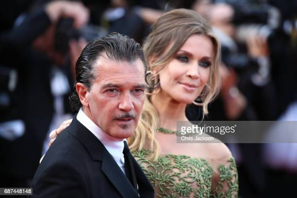 Actor Antonio Banderas and Nicole Kimpel attend the 70th Anniversary of the 70th annual Cannes Film Festival at Palais des Festivals on May 23 2017...