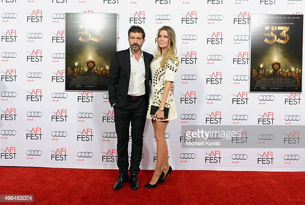 Actor Antonio Banderas and Nicole Kimpel attend the Centerpiece Gala Premiere of Alcon Entertainment's The 33 during AFI FEST 2015 presented by Audi...
