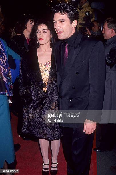 Actor Antonio Banderas and wife Ana Leza attend The Mambo Kings New York City Premiere on February 12 1992 at the Ziegfeld Theatre in New York City
