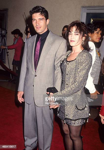 Actor Antonio Banderas and wife Ana Leza attend The Mambo Kings Westwood Premiere on February 26 1992 at the Mann Bruin Theatre in Westwood California