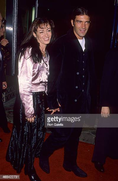 Actor Antonio Banderas and wife Ana Leza attend the Reservoir Dogs New York City Premiere on October 12 1992 at the Loews 19th Street Theatre in New...