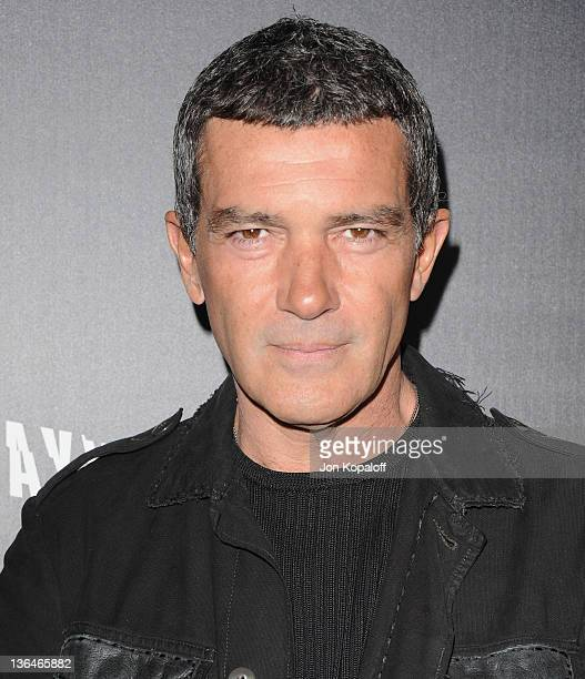 Actor Antonio Banderas arrives at the Los Angeles Premiere Haywire at Directors Guild Of America on January 5 2012 in Los Angeles California