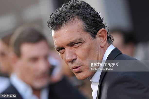 Actor Antonio Banderas arrives at the Los Angeles premiere of 'The Expendables 3' at TCL Chinese Theatre on August 11 2014 in Hollywood California