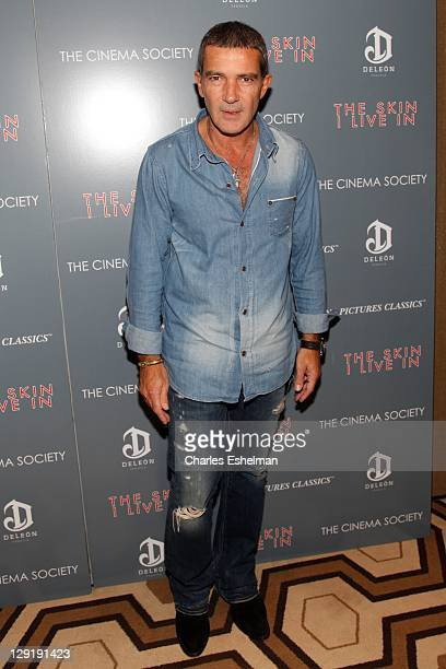 Actor Antonio Banderas attends The Cinema Society DeLeon Tequila screening of 'The Skin I Live In' at the Tribeca Grand Screening Room on October 13...