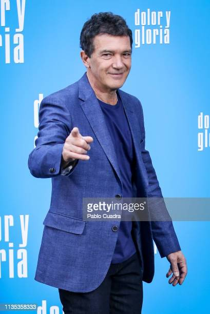 Actor Antonio Banderas attends the 'Dolor y Gloria' photocall at Villamagna Hotel on March 12 2019 in Madrid Spain