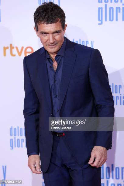 Actor Antonio Banderas attends the 'Dolor y Gloria' premiere at Capitol cinema on March 13 2019 in Madrid Spain