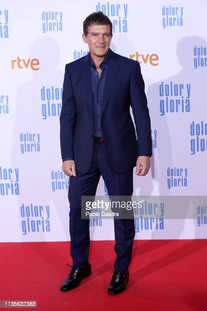 Actor Antonio Banderas attends the 'Dolor y Gloria' premiere at Capitol cinema on March 13 2019 in Madrid Spain