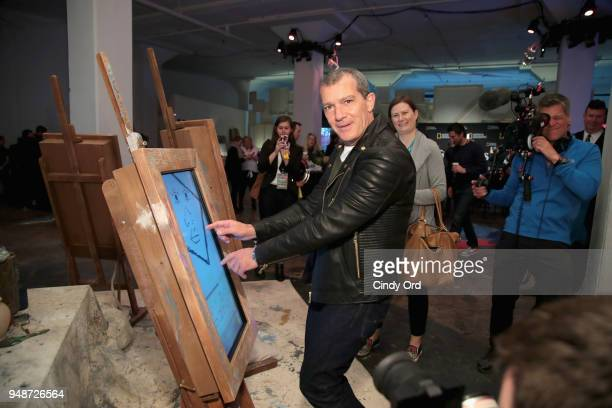 Actor Antonio Banderas attends the 'Genius Picasso' interactive experience at the Genius Studio an interactive installation designed to inspire...