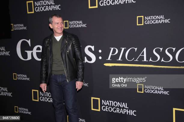Actor Antonio Banderas attends the 'Genius Picasso' interactive experience at the Genius Studio an interactive installation designed to inspire...