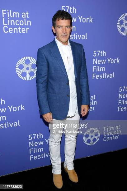 """Actor Antonio Banderas attends the """"Pain And Glory"""" premiere during the 57th New York Film Festival at Alice Tully Hall, Lincoln Center on September..."""