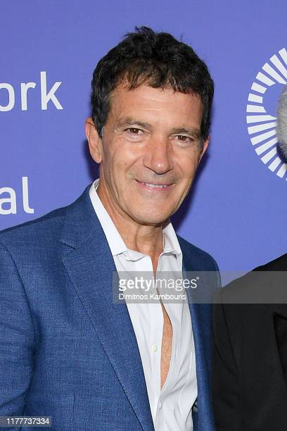 Actor Antonio Banderas attends the Pain And Glory premiere during the 57th New York Film Festival at Alice Tully Hall Lincoln Center on September 28...