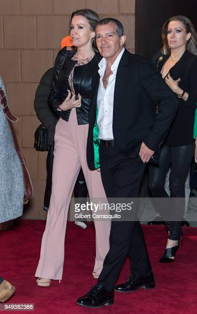 Actor Antonio Banderas Girlfriend Nicole Kempel arriving to the National Geographic premiere screening of 'Genius Picasso' during the 2018 Tribeca...