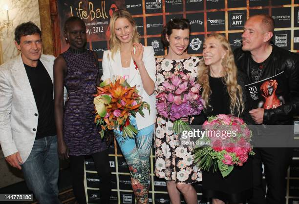 Actor Antonio Banderas model Alek Wek model Karolina Kurkova actress Milla Jovovich Italian Vogue editor Franca Sozzani and Life Ball founder Gery...
