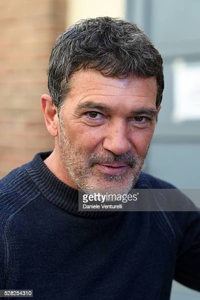 Actor Antonio Banderas poses on set of the movie 'BLACK BUTTERFLY' by AMBI Group on May 04 2016 in Rome