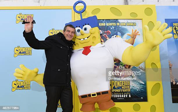 Actor Antonio Banderas poses with SpongeBog as he attends the World Premiere of 'The SpongeBob Movie Sponge Out Of Water 3D' at the AMC Lincoln...