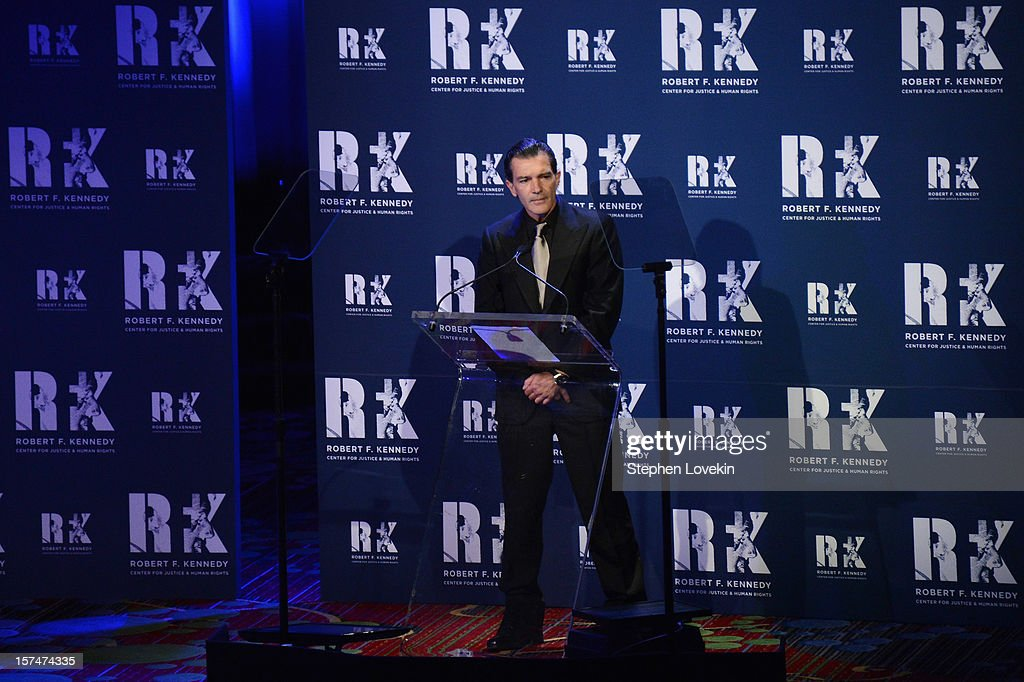 Actor Antonio Banderas speaks onstage at the 2012 Ripple Of Hope Gala at The New York Marriott Marquis on December 3, 2012 in New York City.