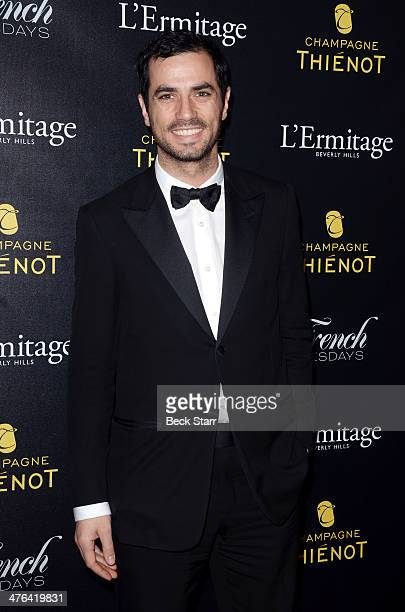 Actor Antonio Cupo arrives at The Academy Awards viewing party with Champagne Thienot at L'Ermitage Beverly Hills Hotel on March 2 2014 in Beverly...