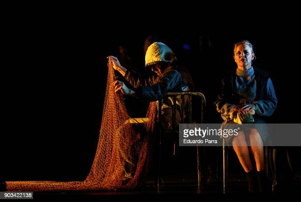 Actor Antonio Gil and actress Angeles Martin attend the theatre rehearsal of 'Hablar por hablar' theatre play at Circulo de Bellas Artes on January...