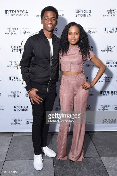 Actor Antonio J Bell and Marquita Goings attend the after party for Nigerian Prince hosted by ATT at Magic Hour Rooftop Bar Lounge during the 2018...
