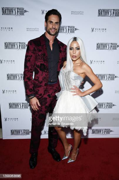 Actor Antonio Lujak and fashion designer Kaila Methven arrive at the world premiere of Nation's Fire at the Landmark Theater on January 16 2020 in...