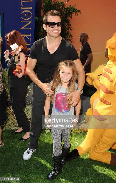 Actor Antonio Sabato Jr and daughter Mina Bree arrive at the premiere of Walt Disney Studios' The Lion King 3D on August 27 2011 in Los Angeles...