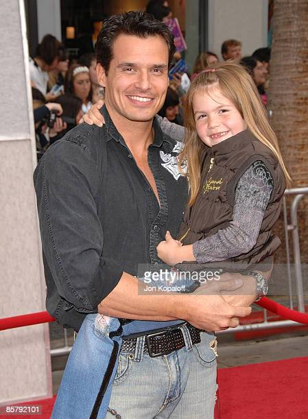 Actor Antonio Sabato Jr and daughter Mina Bree Sabato arrive at the Los Angeles Premiere Hannah Montana The Movie at the El Capitan Theatre on April...