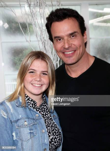 Actor Antonio Sabato Jr and daughter Mina Bree Sabato visit Hallmark's Home Family at Universal Studios Hollywood on January 15 2018 in Universal...