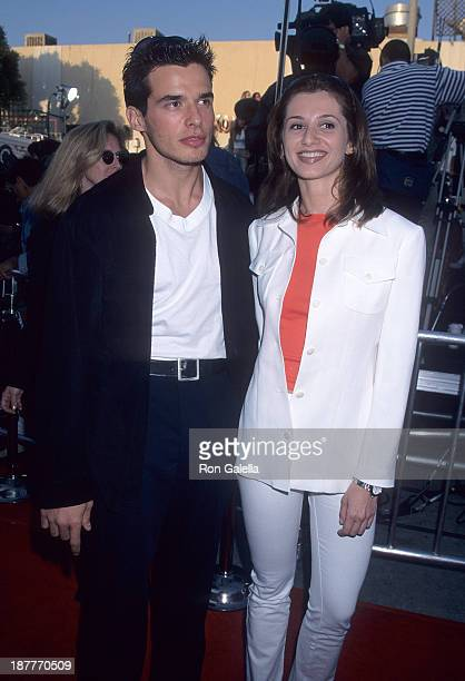 Actor Antonio Sabato Jr and sister Simonne Sabato attend the Mission Impossible Westwood Premiere on May 20 1996 at the Mann Bruin Theatre in...