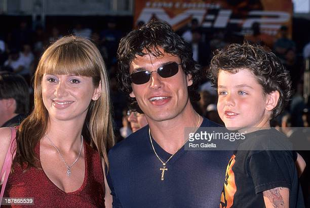 Actor Antonio Sabato Jr his sister Simonne Sabato and his son Jack attend the Mission Impossible II Hollywood Premiere on May 18 2000 at the Mann's...