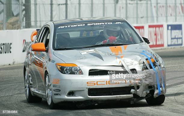 Actor Antonio Sabato Jr is seen on the course driving his wrecked race car during practice for the Toyota Grand Prix of Long Beach Celebrity Race on...
