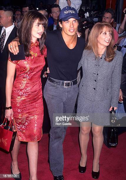 Actor Antonio Sabato Jr sister Simonne and mother Yvonne attend the Volcano Hollywood Premiere on April 15 1997 at the Mann's Chinese Theatre in...