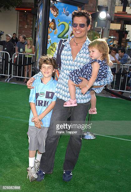 Actor Antonio Sabato Jr with son Jack and daughter Mina arrive at the premiere of the computeranimated comedy 'Shrek 2'