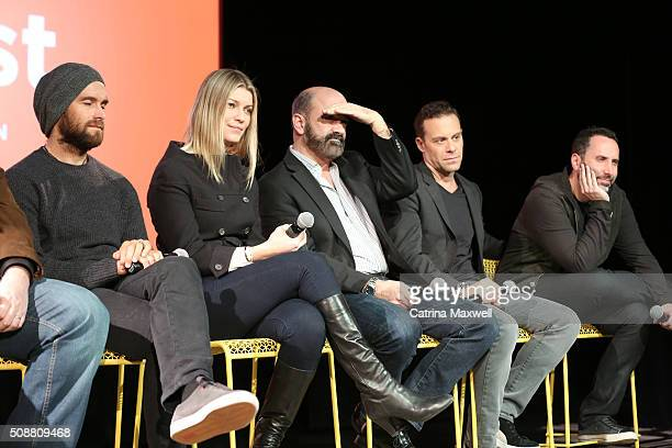 Actor Antony Starr Actress Ivana Milicevic Actor Matt Servitto Actor Matthew Rauch and Writer and Executive Producer Adam Targum speak at the Banshee...