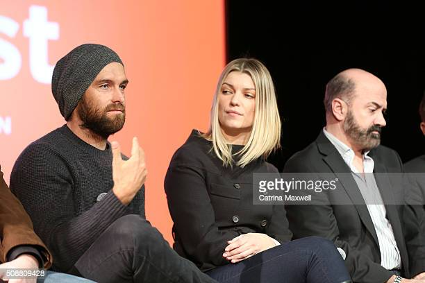 Actor Antony Starr Actress Ivana Milicevic and Actor Matt Servitto speak at the 'Banshee' event during aTVfest 2016 presented by SCAD on February 6...