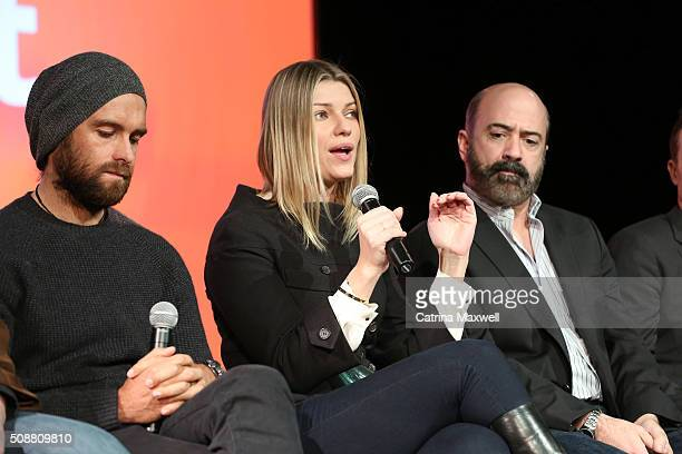 Actor Antony Starr Actress Ivana Milicevic and Actor Matt Servitto speak at the Banshee event during aTVfest 2016 presented by SCAD on February 6...