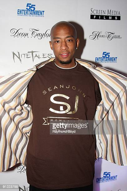 Actor Antwon Tanner poses on the red carpet at the Dead Tone movie premiere at Chatham's ICE Theaters in Chicago Illinois on September 03 2009