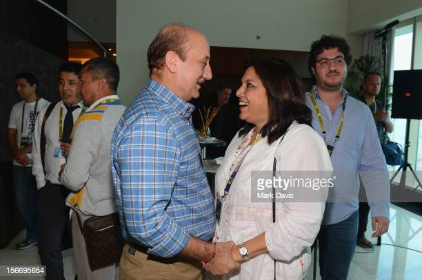 Actor Anupam Kher and filmmamker Mira Nair attend at the Filmmakers Brunch during the 2012 Doha Tribeca Film Festival at Kempinski Sky Villa on...