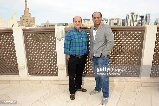 Actor Anupam Kher and jury member Ashutosh Gowariker at the India Discussion during the 2012 Doha Tribeca Film Festival at the Al Mirqab Boutique...