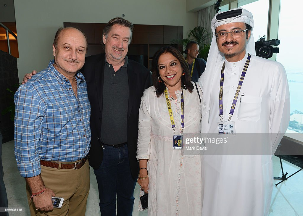 Actor Anupam Kher, Director of the Tribeca Film Festival Geoffrey Gilmore, filmmamker Mira Nair and Doha Film Institute CEO Abdulaziz Bin Khalid Al-Khater attend at the Filmmakers Brunch during the 2012 Doha Tribeca Film Festival at Kempinski Sky Villa on November 19, 2012 in Doha, Qatar.